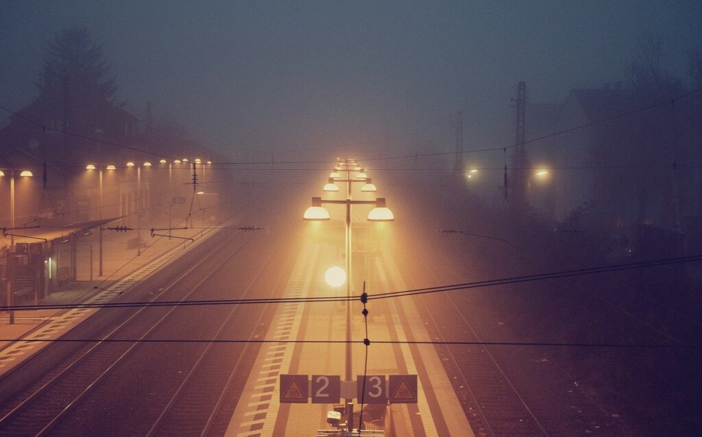 train station, night, railway